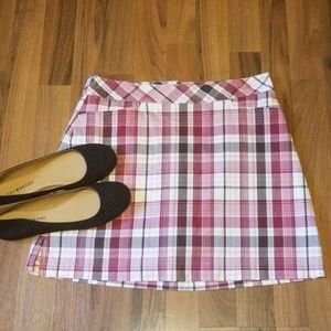 Lady Hagen | Burgundy Pink Cream Plaid Skort